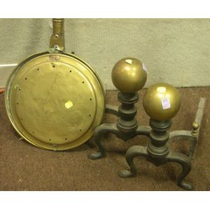 Brass and Turned Wood Bedwarmer and Pair of Brass Ball-top and Cast Iron Andirons.