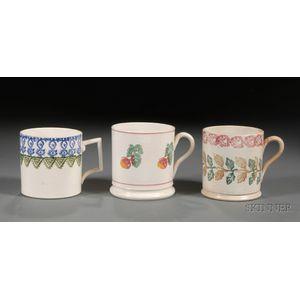 Three Portneuf Pottery Stick Spatter Decorated Mugs