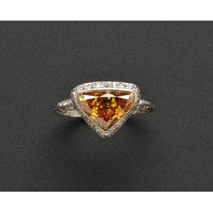 Art Deco Platinum, Colored Diamond and Diamond Ring
