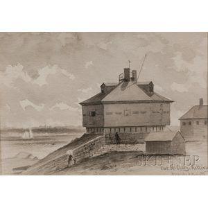 "Hendricks A. Hallett (Boston, 1847-1921)      Lot of Three Works: ""Gundalow"" on the Piscataqua. ;  Fort McClary, Kittery."
