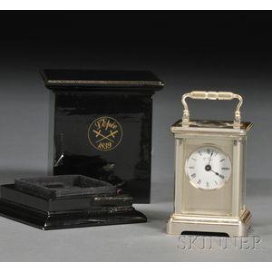 French .950 Silver Miniature Boudoir Timepiece