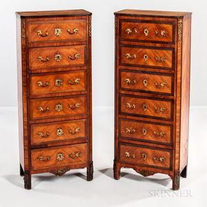 Pair of Louis XVI-style Quartered Walnut-veneered Tall Chests