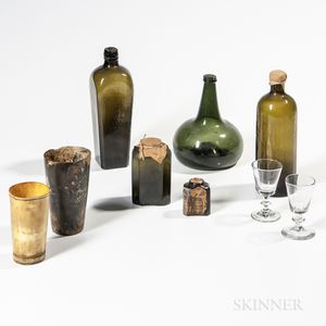 Five Early Bottles, Two Horn Cups, and Two Wineglasses