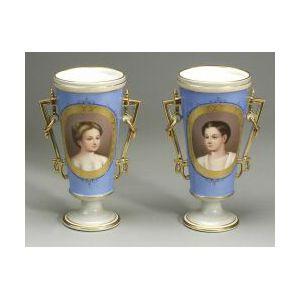 Pair of Paris Porcelain Portrait Vases