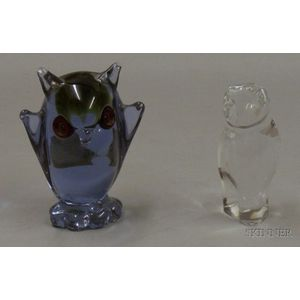 Baccarat Colorless Glass Owl and Murano Glass Figure of an Owl