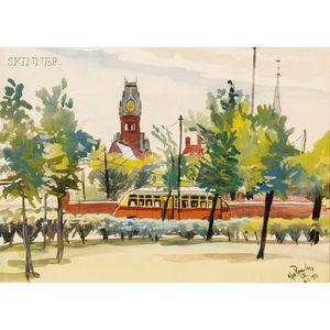 Allan Rohan Crite (American, 1910-2007)      Towers-Old Cambridge