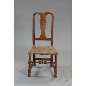 Queen Anne Maple Carved Spanish-foot Side Chair