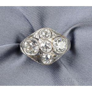 Art Deco Platinum and Diamond Five-stone Ring