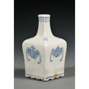 Square Blue and White Wine Bottle