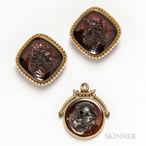 Pair of Intaglio Cuff Links and an Intaglio Fob