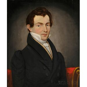 American School, 19th Century      Portrait of a Gentleman with Auburn Hair and Gray Eyes