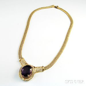 14kt Gold, Amethyst, and Diamond Necklace