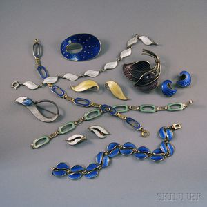 Small Collection of Norwegian Sterling Silver and Guilloche Enamel Jewelry