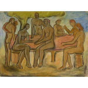 Guy Salomon (Swiss, b. 1934)      Two Figural Works on Paper: Figures Around a Table