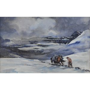 Levon West (American, 1900-1968)      Trudging Through Snowy Mountains