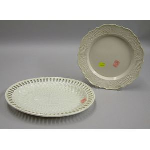 English Salt Glazed Plate and Reticulated Platter.