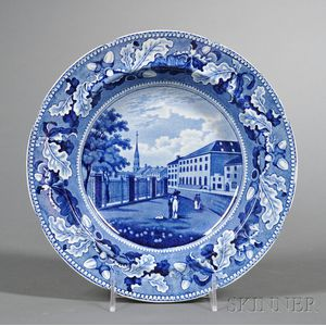 Historic Blue Transfer-decorated Staffordshire Pottery Plate