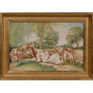 O. Victor Humann (Massachusetts, 1874-1951)      Cows at Pasture.