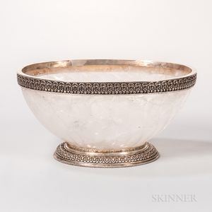 Sterling Silver-mounted Carved Rock Crystal Bowl
