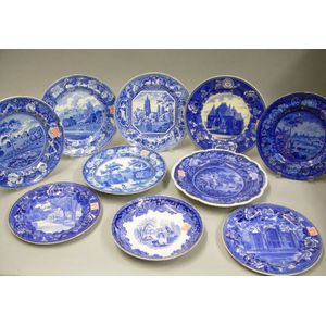 Ten Assorted English Blue and White Transfer Decorated Staffordshire Plates.