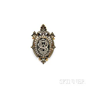 Antique Gold, Enamel, and Diamond Brooch