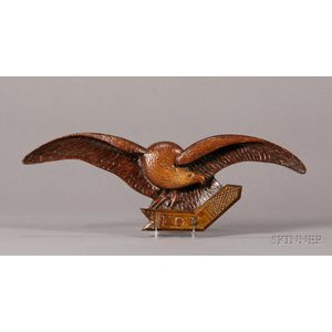 Carved Pine Eagle Wall Plaque