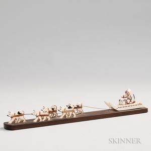 Carved and Painted Whale Ivory Sled Dog Team and Sled