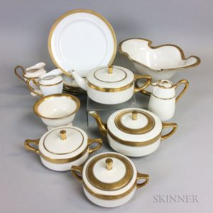 Thirteen Pieces of Gold-band Porcelain Tableware
