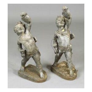 Pair of Lead Garden Figures of Cupid