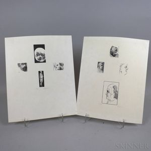 Attributed to Leonard Baskin (American, 1922-2000) Two Prints Related to William Blake: Four Male Heads in Profile (George Richmond Eng