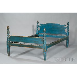 Blue-painted Maple and Pine Turned Post Bed