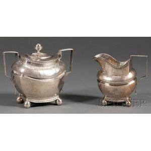 Silver Creamer and Covered Sugar Bowl