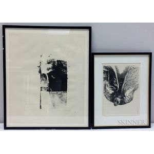 Arthur Polonsky (American, b. 1925)      Two Framed Lithographs: Face