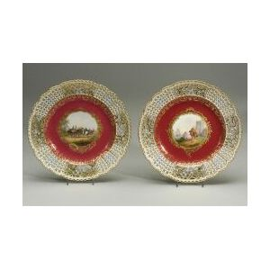Near Pair of Meissen Porcelain Reticulated Cabinet Plates