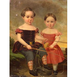 American School, 19th Century    Portrait of Two Children Driving a Pony Cart.
