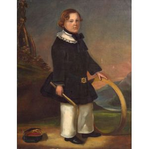 S. Perrett, mid 19th century,    Portrait of a Young Man with a Hoop