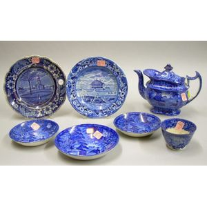 Seven Pieces of English Blue and White Historical Transfer Decorated Staffordshire   Tableware