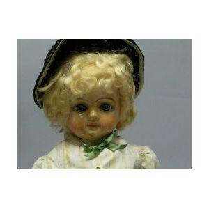Wax over Papier Mache Shoulder Head Doll
