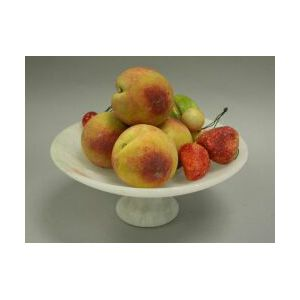 Ten Pieces of Painted Stone Fruit with an Alabaster Compote.