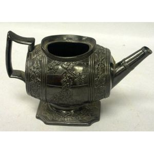 English Barrel-form Basalt Teapot.