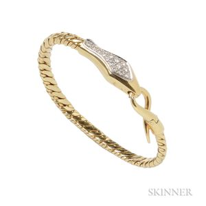 18kt Gold and Diamond Snake Bracelet, Pomellato