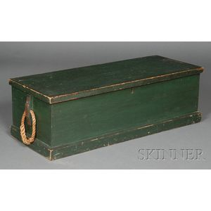 Green-painted Six-board Sea Chest