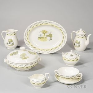 "Extensive Assembled Wedgwood Eric Ravilious Design ""Garden"" Pattern Luncheon Service"