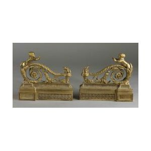 Pair of French Second Empire Bronze Dore Chenet