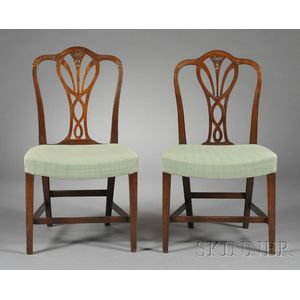 Set of Six George III Carved Mahogany Side Chairs