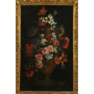 Flemish School, 17th Century Style      Two Still Lifes with Flowers in Classical Urns