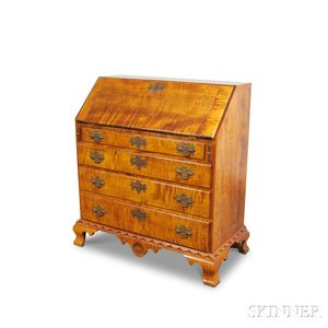 Carved Tiger Maple Slant-lid Desk in the Dunlap Style