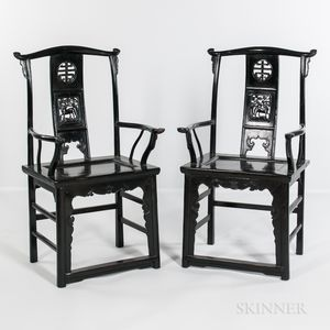 Pair of Lacquered Yoke-back Armchairs