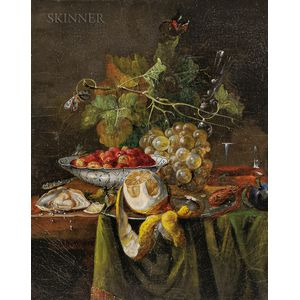 French/American School, 19th Century      Still Life with Fruit and Oyster