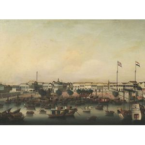 Chinese School, 19th Century  View of the Factories at Canton.